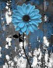 Rustic Blue Gray Floral Bathroom Bedroom Wall Art Decor Matted Picture