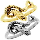925 Sterling Silver ROLLING TWISTED KING COBRA SNAKE Chevron Fine Ring Size 3-11