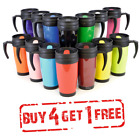THERMAL TRAVEL MUG TEE COFFEE HOT DRINK CUP HANDLE DOUBLE WALLED INSULATED 400ml