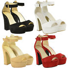 New Ladies Womens Ankle Strap Platform Chunky Sole Block Heel Sandals Shoes Size