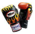 Twins Special Muay Thai Boxing Gloves Leather w/ Velcro Black Fire Flame FBGV7
