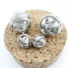 Silver Earings Gold Black Double Side Hollowed Two Ball Ear Stud Earrings