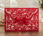 Red Hollow  Lace Personlize  Laser Cut Wedding Invitation Cards With Envelopes