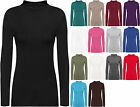 New Ladies Turtle Neck Long Sleeved Stretch Plain Polo Top Womens Jumper 8 - 14