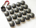 20 x 17MM ALLOY WHEEL HEX NUT/BOLT CAPS COVERS + TOOL Grey For Porshe Cars