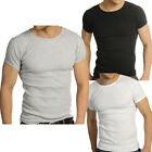 Mens Raiken Ribbed Crew Neck ( Pack of 3 ) Slim Fit Black Grey White T-Shirt Men