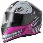 VCAN V127 HOLLOW SKULL PINK MOTORCYCLE MOTORBIKE SCOOTER FULLFACE HELMET ACU NEW