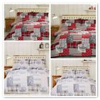 ALPINE PATCHWORK FLANNELETTE DUVET COVER SETS NATURAL AND RED COLOURS FREE P&P