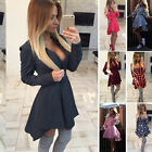 Womens Long Sleeve Cocktail Evening Party Pleated Skater Short Mini Shirt Dress
