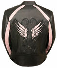 WOMEN'S MOTORCYCLE LEATHER JACKET W/REFLECTIVE WINGS STUDS PIPING IN BLK & PINK