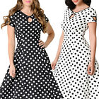 STON Womens Vintage 50's White & Black Cap Sleeve Swing Polka Dot Evening Dress