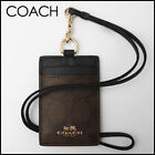 Coach ID Lanyard Badge Holder Case Card Neck Signature Bee PVC Canvas 63274 NWT