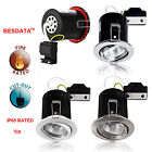 4/40x Fire Rated Downlights IP65 Bathroom Shower Recessed Ceiling GU10 Fitting