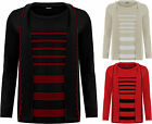 Womens Plus Knitted Cardigan Jumper Top Set Ladies Striped Insert Long Sleeve