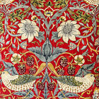 William Morris Strawberry Thief Crimson Lined Curtains - Various Sizes