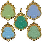 Natural Gemstone Buddha Buddhism Necklace Pendant Charm Cooper Gold Filled