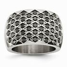 Chisel Stainless Steel Ring Littered With Black CZs Size 6 to 8