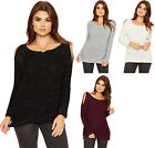 Womens Lurex Cable Knit Jumper Ladies Cut Out Cold Shoulder Long Sleeve New 8-14