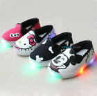 Mouse Kitty Luminous Kids Girl Boys LED light up Canvas Shoes slip on Sneakers