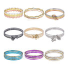 Gold Plated Stainless Steel Women's Vintage Cuff Bangle Jewelry Crystal Bracelet