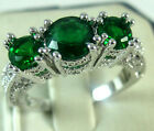 Fashion Women 925 Silver Emerald Three Stone Ring Engagement Wedding Jewelry