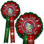 Luxury Christmas Show Rosette, Frosty Flurry 2 tier Snowman Christmas Rosettes