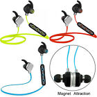 Bluetooth Headphone Wireless Stereo HD Headset Sweatproof with Mic Magnet Earbud