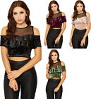 Womens Velour Mesh Crop Party Top Ladies Cold Shoulder Frill Tiered Short Sleeve