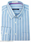New Mens Ex M&S Cotton Regular Fit Blue Striped Long Sleeve Shirt Size 15.5 & 17