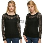 Women Leisure Hollow Out Lace Blouse O-Neck Long Sleeve Cover Up Outwear TXSU