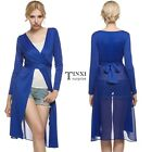 Women Long Sleeve Chiffon Patchwork Cross Bandage Long Cardigan TXSU