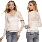 Women Fashion Sexy Slim V Neck Long Sleeve Floral Lace Patchwork TXSU