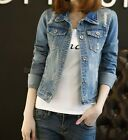 Women Denim Jacket Women Slim Cotton Light Washed Short Jeans Jacket Coats