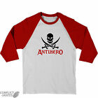 "ANTI HERO ""Small Skull"" Raglan skateboard T-Shirt 3/4 Sleeve RED/White S or L"