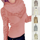 Women Sweater Winter Jumper Knitwear Hollow Cardigan Outwear Coat Neckerchief