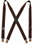"1.5"" Wide Suspenders Black Terry Orange Stripes Non-Slip Slide Adjusters 2 Sizes"