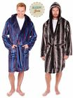 Plus Mens Striped Hooded  Soft Feel Dressing Gown Lounge robe Wrap   XL XXL 3XL