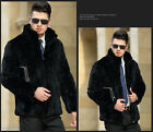 Men's Real Rabbit Fur Coat Jacket Stand Collar Outwear Handsome Cool Waistcoat