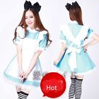 Alice In Wonderland Blue Maid Dress Outfit Fancy Halloween Maid Costume +Track