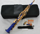 High Quality Blue Gold Straight Soprano Saxophone Sax High F# 10 Reed With Case