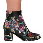 LADIES WOMENS FLORAL BLOCK HEEL ANKLE BOOTS ZIP UP CASUAL STYLE
