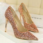 Pointy Glittering Pumps Shiny Sexy Stiletto Gold Silvery High heels Women Shoes