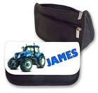 Personalised Blue Tractor Pencil Case/Makeup Bag.Personalise with any name