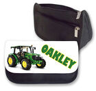 Personalised Green Tractor Pencil Case/Makeup Bag.Personalise with any name