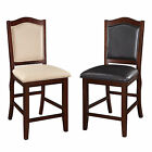 2 PC Espresso Cream Faux Leather Upholstered Counter Height High Dining Chairs