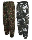 Mens Army Combat Camo Camouflage Jogging fleece Bottoms Trousers Pants  S- XXL
