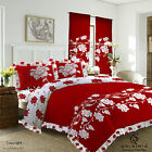 Duvet Cover with Pillow Case Quilt Cover Bedding Set Frilled Edge - Richmond Red