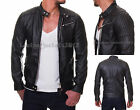 Black Leather Jacket sheep Leather OR Faux Biker slim fit Style Sty50