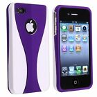 Rubberized Hard Snap-on Cup Shape Case for iPhone 4 / 4S - Purple/White