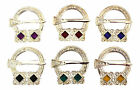 Polished 2 Stone Penannular Plaid Sash Brooch With Selection of Coloured Stones